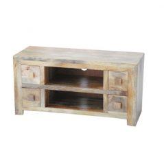 light mango wood four drawer tv media unit