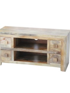 light mango wood four drawer tv media unit