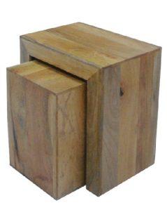 Dakota light mango wood nest of 2 side tables