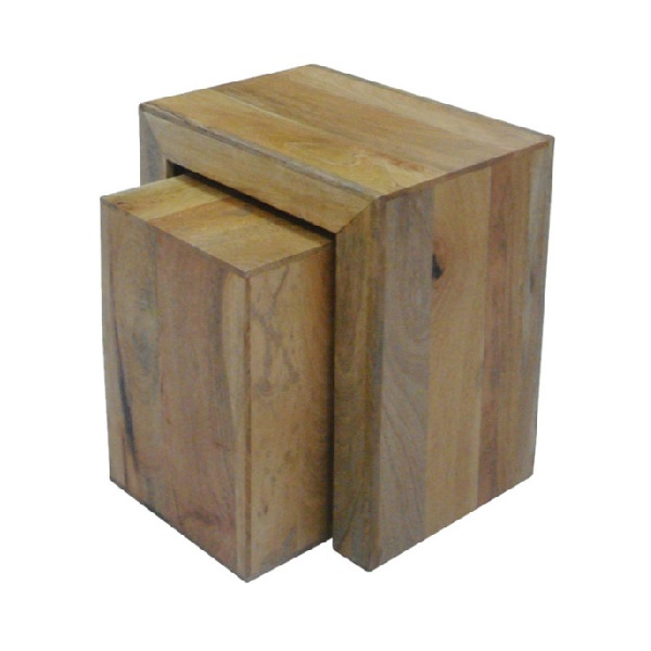 Light mango wood nest of 2 side tables bournemouth poole for Light wood side table