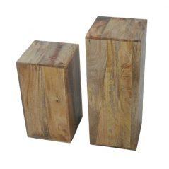 light mango wood set of 2 block tables