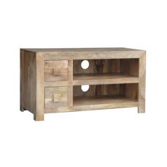 light mango wood two drawer media unit