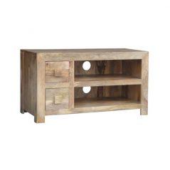 light mango wood two drawer media unit