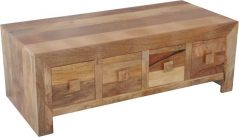Light mango wood Height Drawer Coffee Table