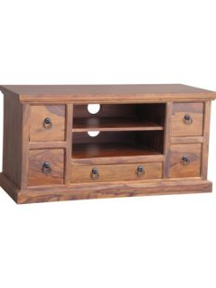 sheesham wood 5 drawer tv and media unit