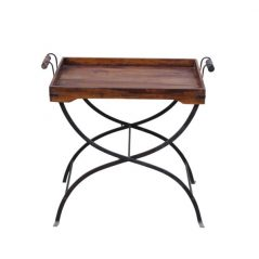 sheesham wood butler tray with iron stand