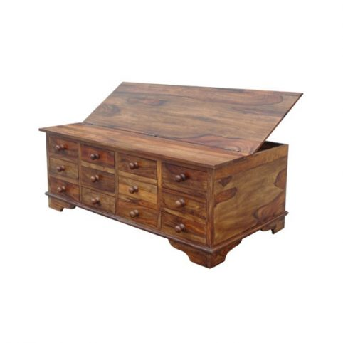 sheesham wood half trunk coffee table with drawers