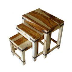 sheesham wood nest of 3 tables