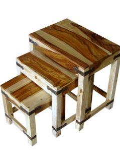 sheesham wood nest of 3 tables