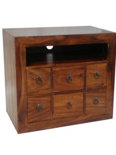 sheesham wood tv and media unit with 6 drawers