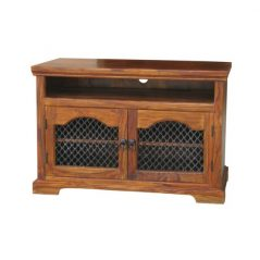 sheesham wood tv and media unit with doors_2