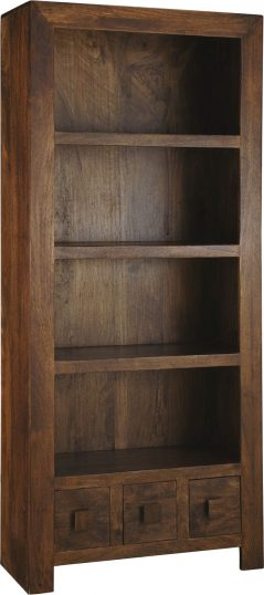 Dark Mango Wood Bookcase with 3 Drawers