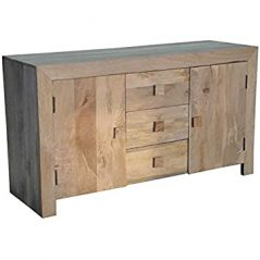 Light mango wood Sideboard with 3 Drawers