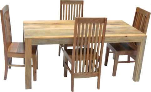 light mango wood dining table and chairs