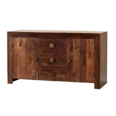 Dark Mango Wood Sideboard with 3 Drawers