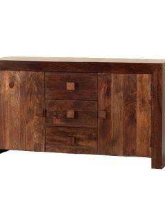 Dark Mango Wood Sideboard with 3 Drawers