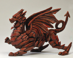 Hand Painted Contemporary Red Dragon Sculpture made in UK