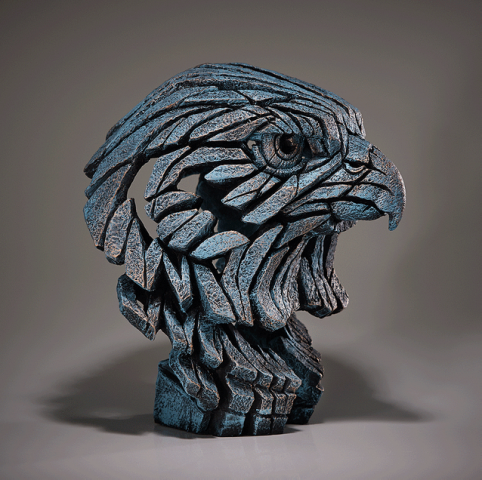 Teal Falcon Bust sculpture