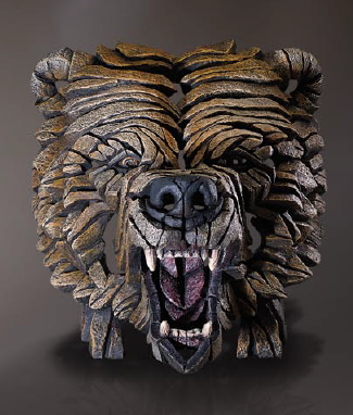 Hand painted Contemporary Grizzly Bear Bust Sculpture