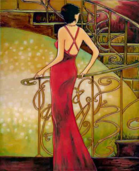 Lady by the Staircase glass tile