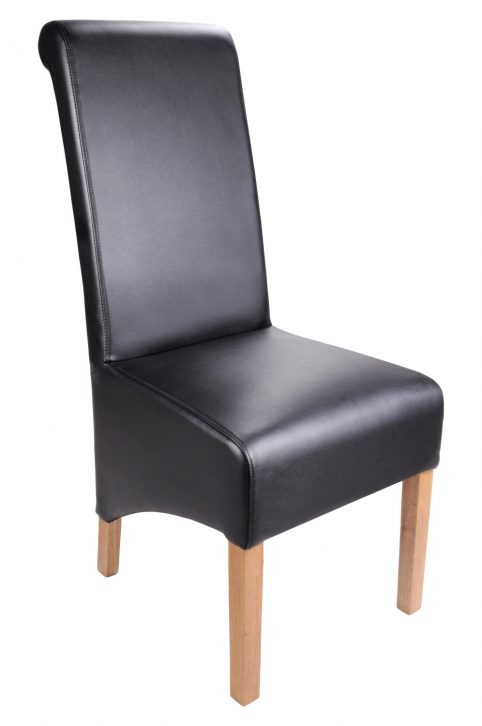 Madras bonded leather Black dining chair