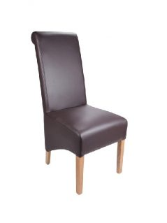 Madras-bonded leather dining chair