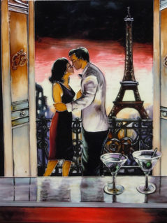 Paris Kiss glass tile