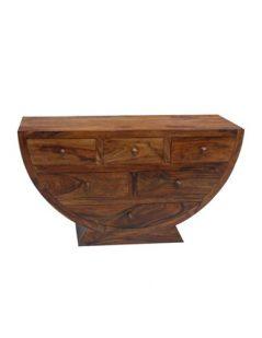 sheesham wood half moon shaped chest of drawers