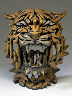 Hand Painted Moden Bengal Tiger Bust Sculpture made in UK