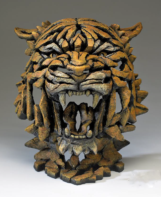 Hand Painted Modern Collectible Tiger Bust Sculpture Made