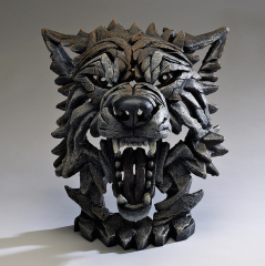 Hand Painted Contemporary Wolf bust sculpture from the UK