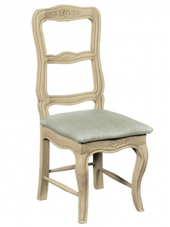 painted mango wood upholstered chair