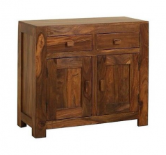 contemporary small sheesham wood sideboard with 2 doors and 2 drawers