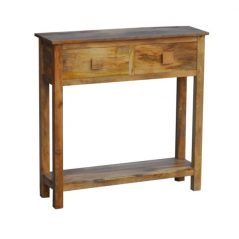light mango wood console table with two drawers