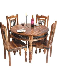 sheesham wood circular dining table