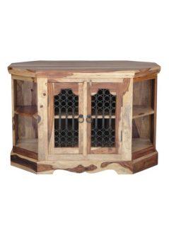sheesham wood corner tv and media unit with doors