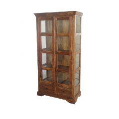 sheesham wood glazed display cabinet