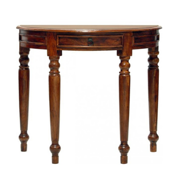 sheesham wood half-moon shaped console table hallway table with 1 drawer
