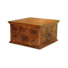 sheesham wood half trunk caffee table with 6 drawers