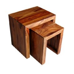 sheesham wood nest of 2 tables