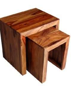 sheesham wood nest of 2 tables