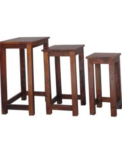 sheesham wood nest of 3 tables stools
