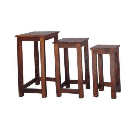 sheesham wood nest of 3 tables stools