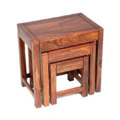 sheesham wood nest of 3 tables_3