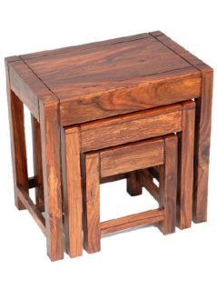 sheesham wood nest of 3 tables_3