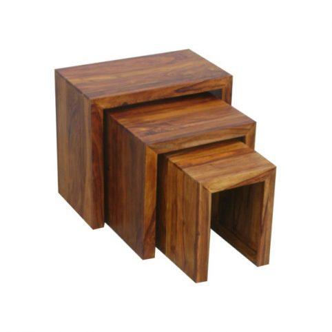 sheesham wood nest of 3 tables_4