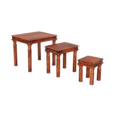 sheesham wood nest of 3 tables_5
