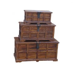 sheesham wood set of 3 trunks