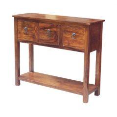 sheesham wood three drawer console table