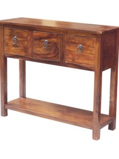 sheesham wood three drawer console table